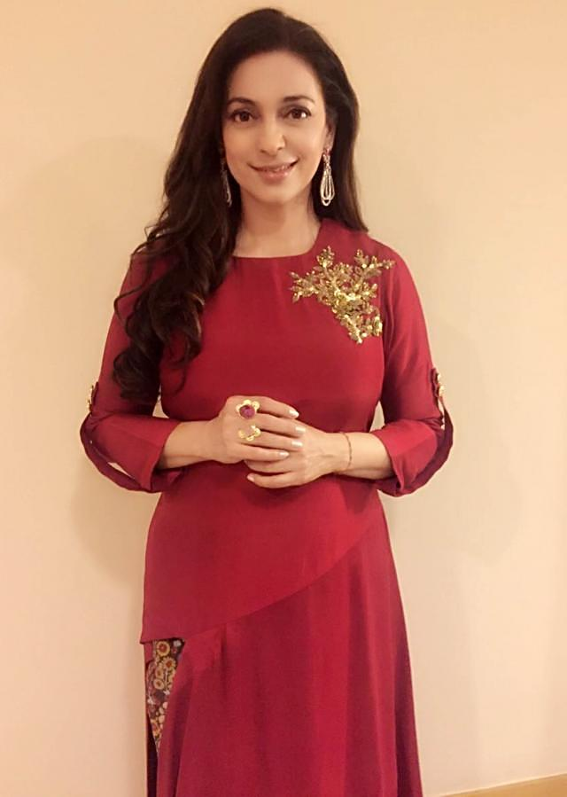 Juhi Chawla in Kalki maroon dress with fancy slit and printed pant