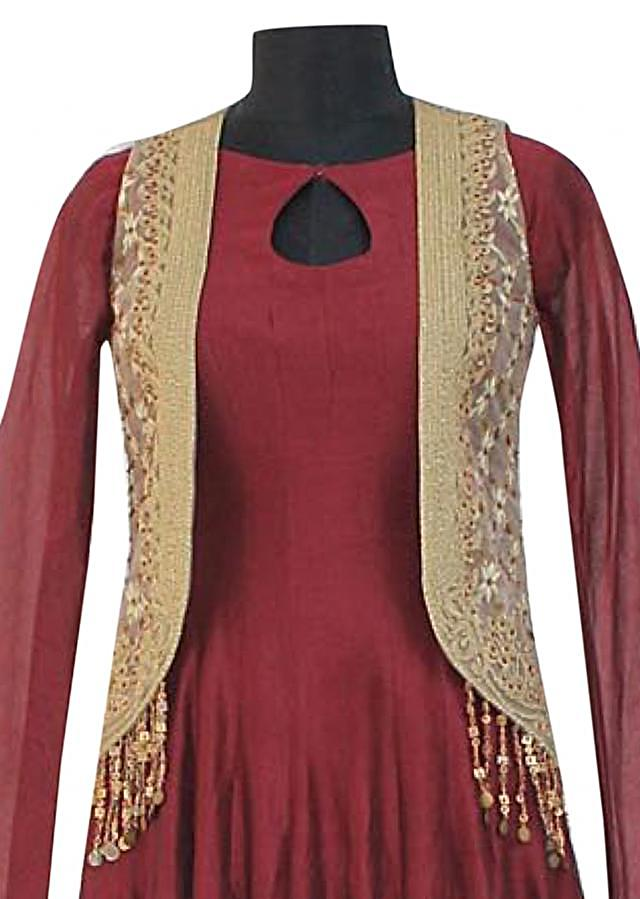 Maroon dress with beige embroidered jacket