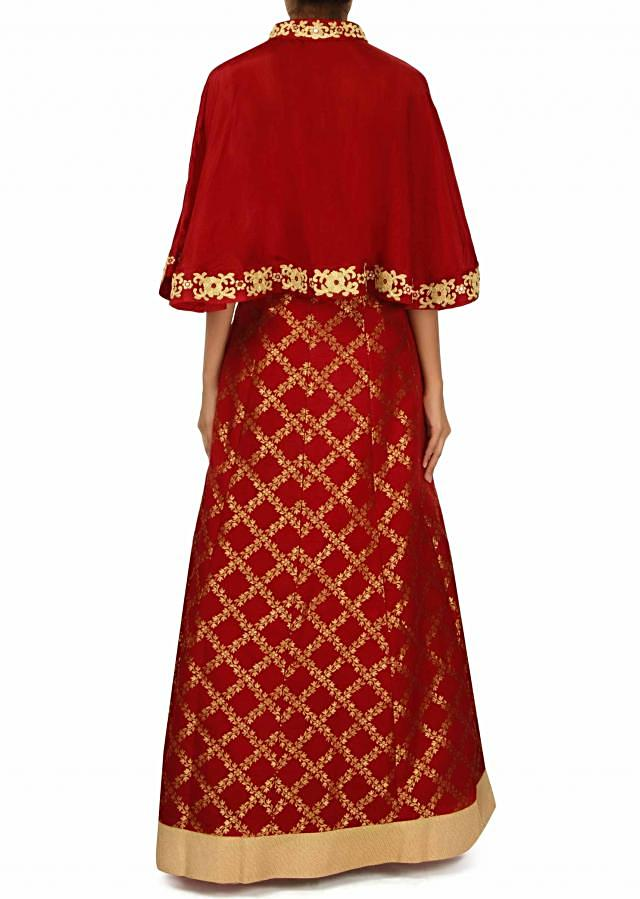 Maroon dress with embellished fancy cape only on Kalki