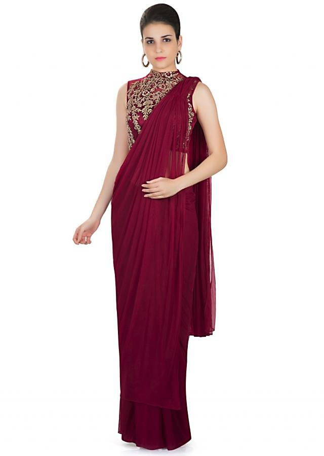 Maroon Georgette Net Saree with Embellished Net Blouse Only on Kalki