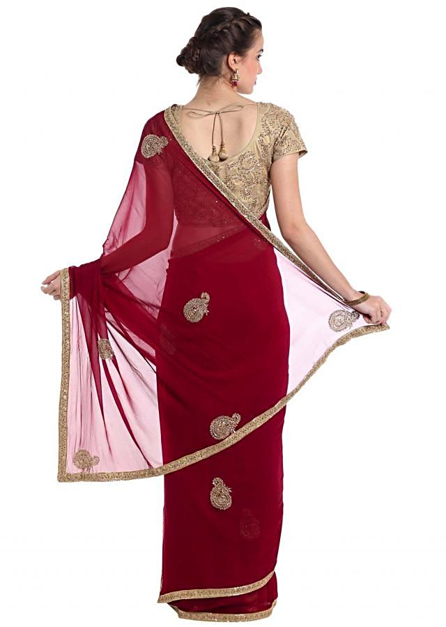 Maroon Saree In Georgette With Cut Dana And Sequin Work Online - Kalki Fashion