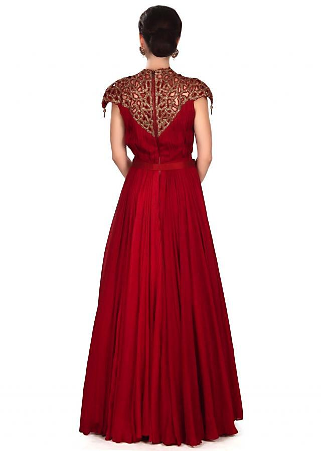 Maroon gown adorn in cut work embroidered yoke only on Kalki