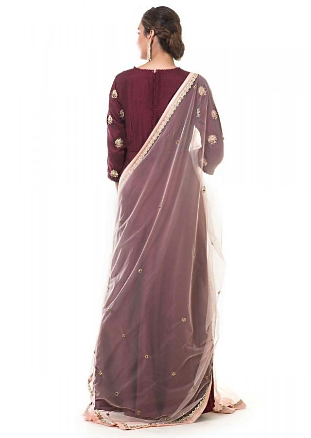 Maroon Anarkali With Hand Embroidery And Dupatta Online - Kalki Fashion