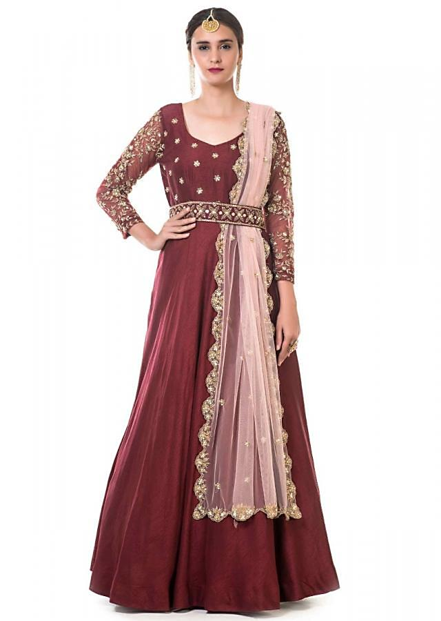 Maroon Anarkali With Hand Embroidery And Embroidered Waist Belt And Peach Dupatta Online - Kalki Fashion
