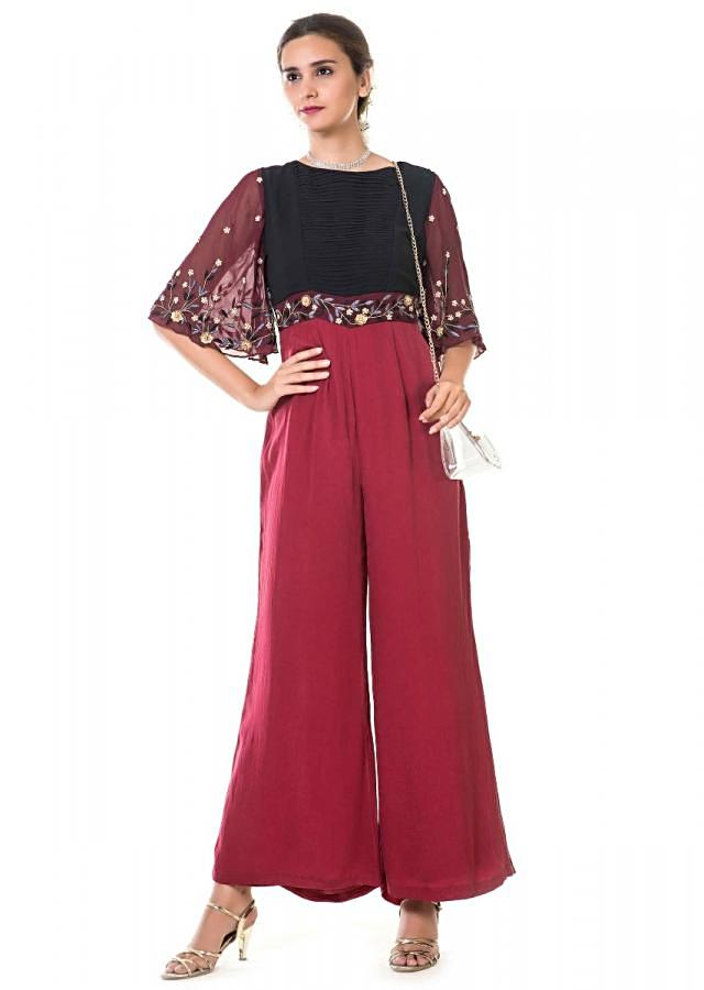 Maroon Jumpsuit With Hand Embroidery And Bell Sleeves With Black Pleated Yoke Online - Kalki Fashion