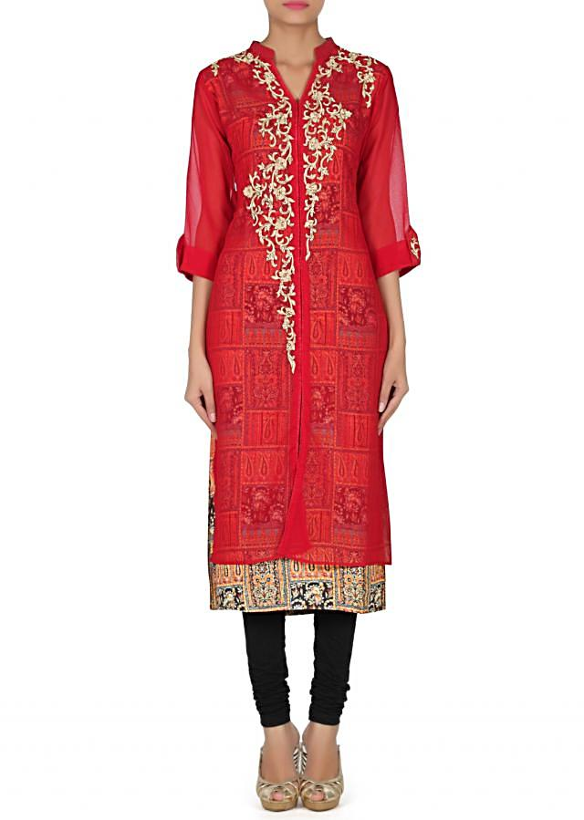 Maroon kurti adorn in resham and kundan only on Kalki