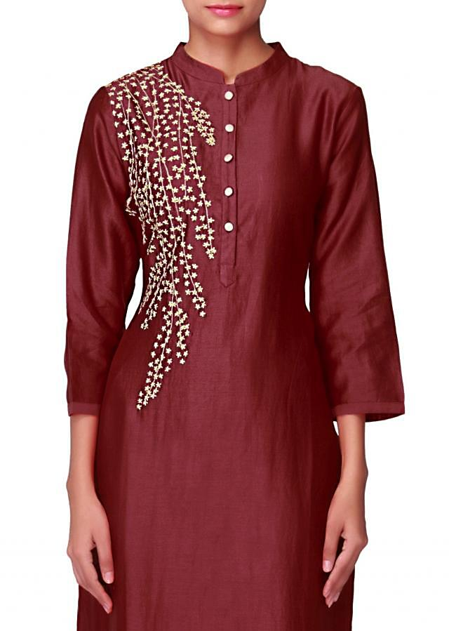 Maroon kurti with one side resham embroidery only on Kalki