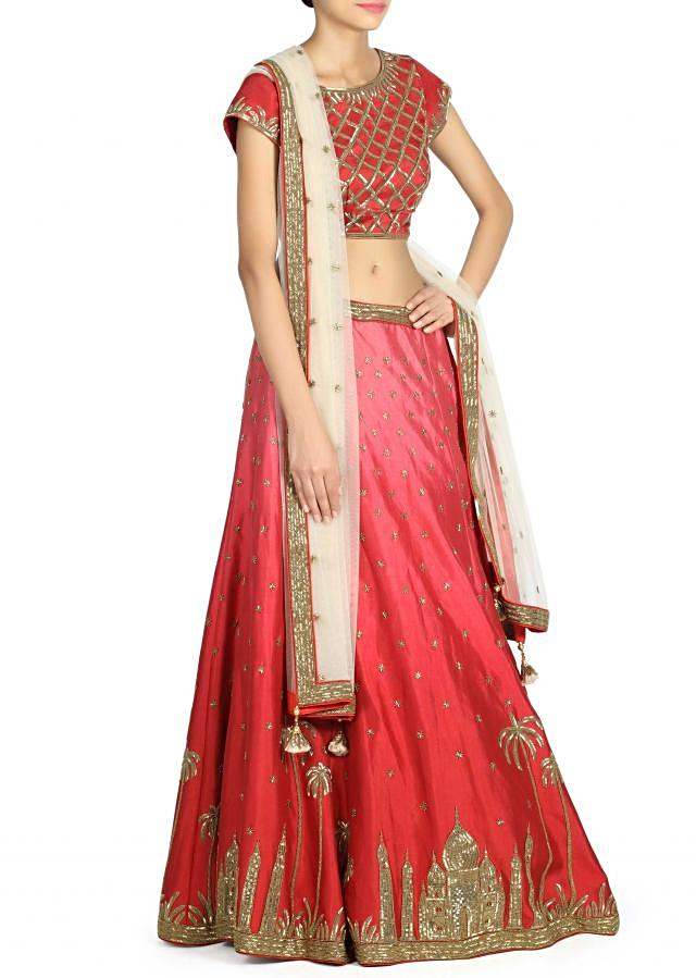 Maroon lehenga adorn in kardana embroidery only on Kalki