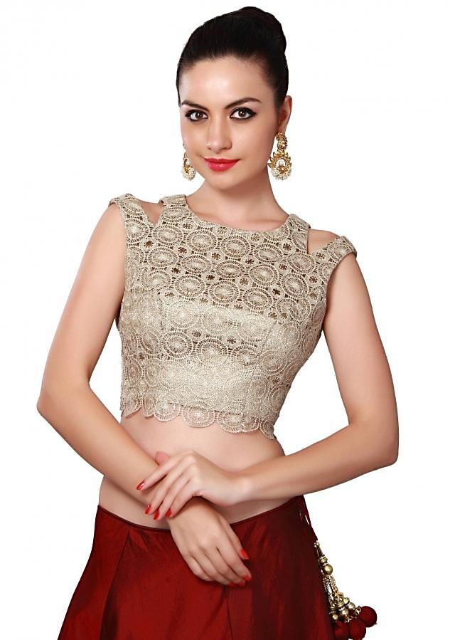 Maroon lehenga adorn in zari cut work only on Kalki