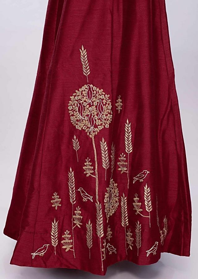 Maroon Anarkali Suit In Raw Silk With Banarasi Brocade Dupatta Online - Kalki Fashion