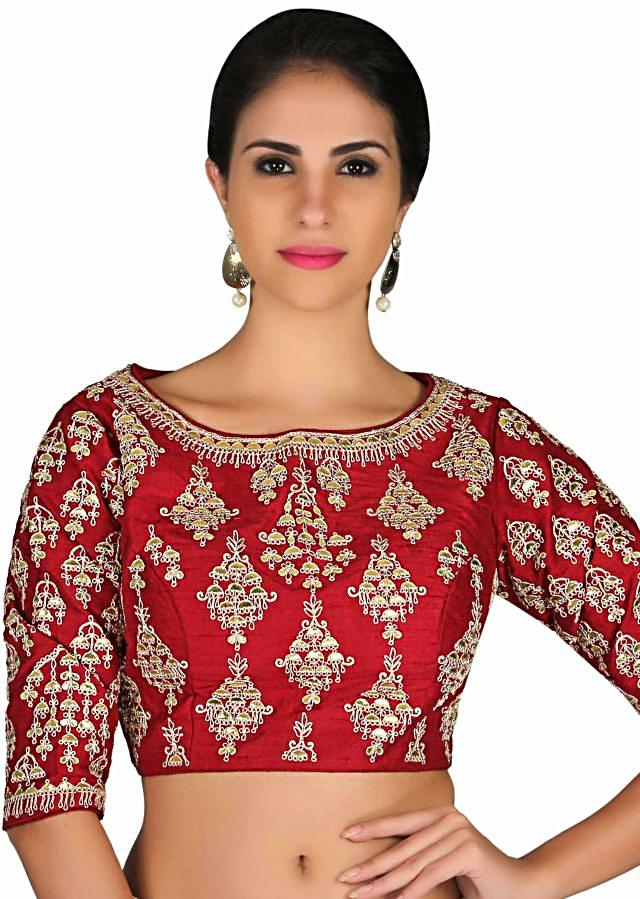Maroon raw silk blouse in gotta patch and zari butti only on Kalki