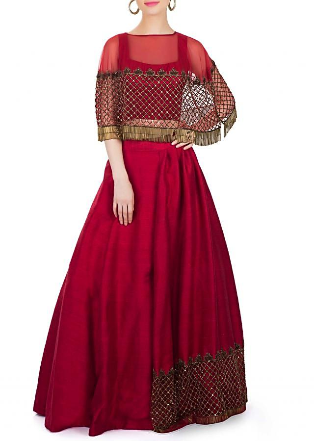 Maroon Raw Silk Top and Skirt with Cut Dana Embellished Net Cape Only on Kalki