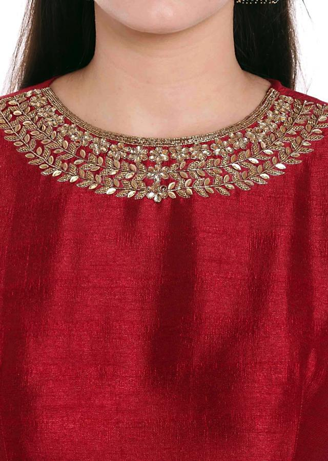Maroon Raw Silk Top with Zardosi, Brocade Silk Dupatta only on Kalki