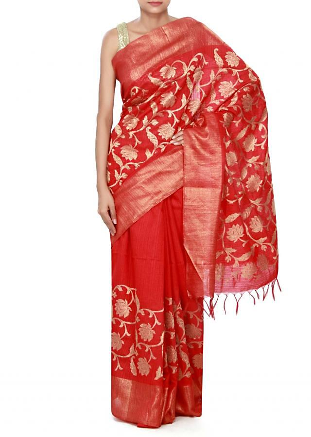 Maroon saree featuring in weave embroidery only on Kalki