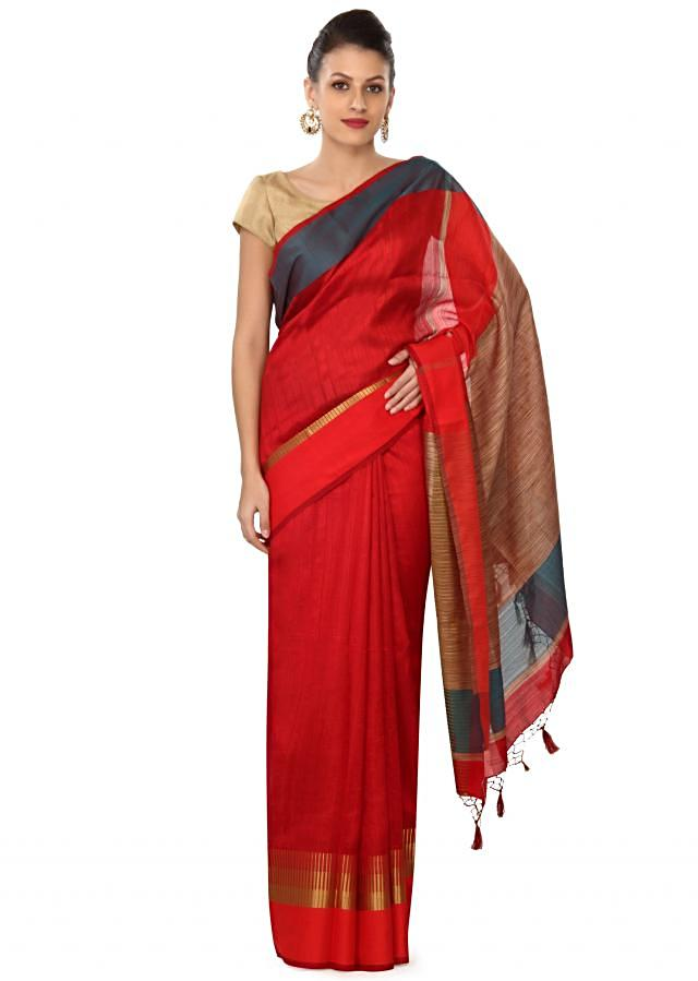 Maroon saree in multi color and gold border only on Kalki