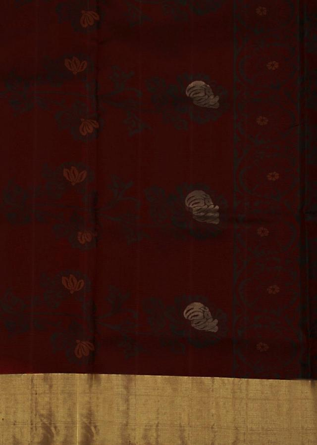 Maroon saree in rose motif weaved  all over only on Kalki