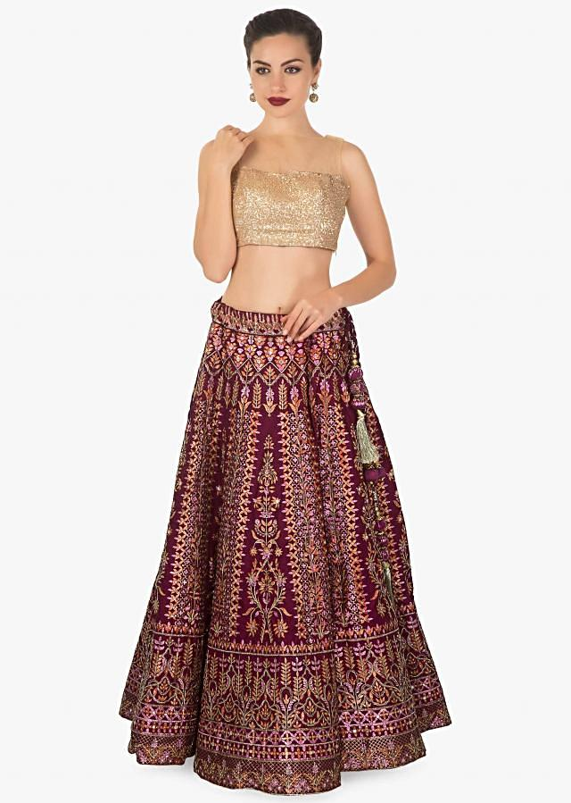 Maroon silk lehenga  embellished with foil print, zari, cut dana only on kalki