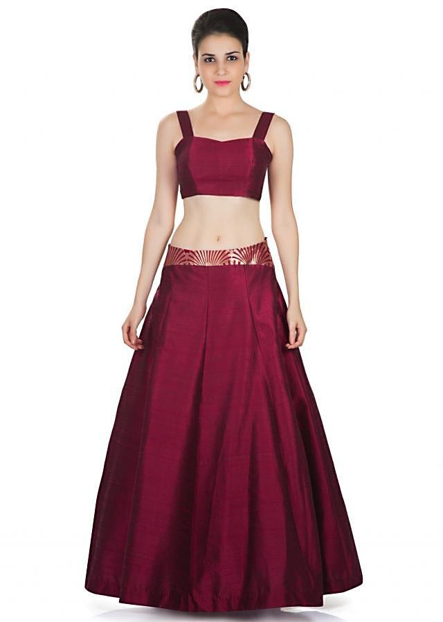 Maroon Skirt and Blouse Styled with Banarasi Brocade Jacket Featuring Moti Embroidered Butti only on Kalki