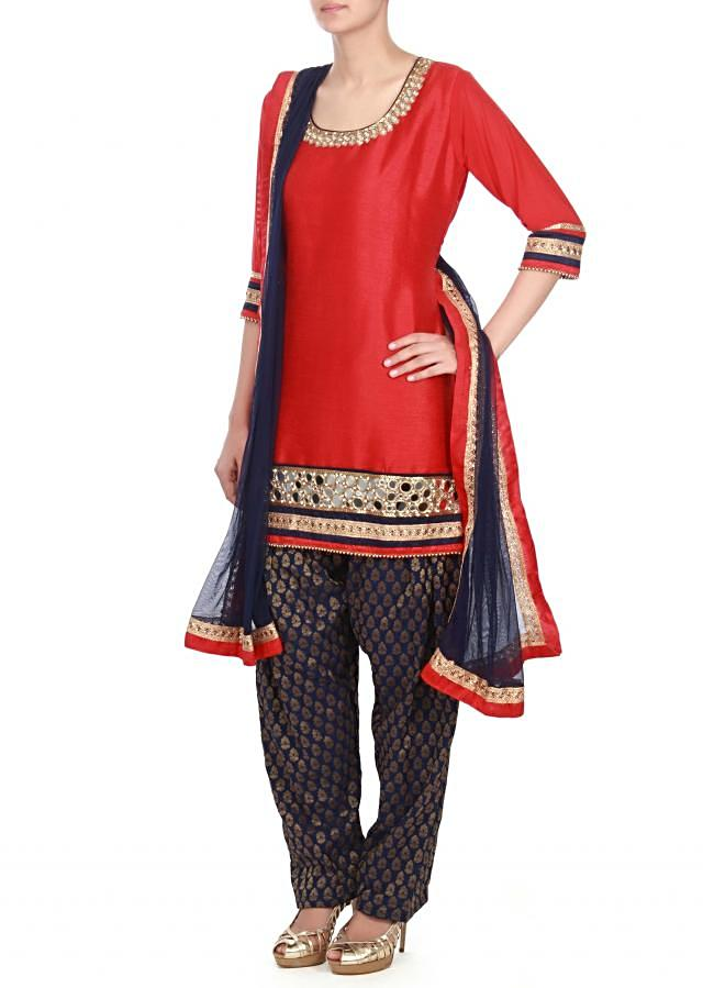 maroon straight suit adorn in mirror embroidery only on kalki