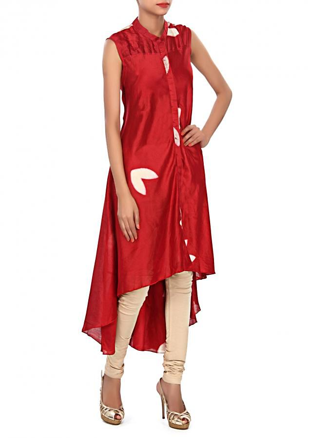 Maroon straight suit embellished in press button only on Kalki