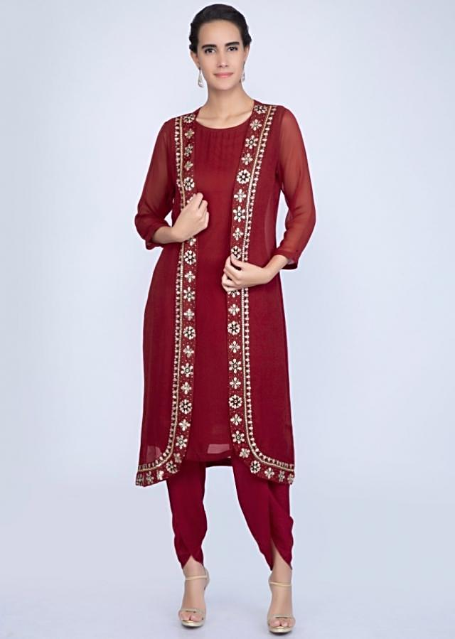 Maroon Suit And Dhoti Pant With Long Embroidered Jacket Online - Kalki Fashion