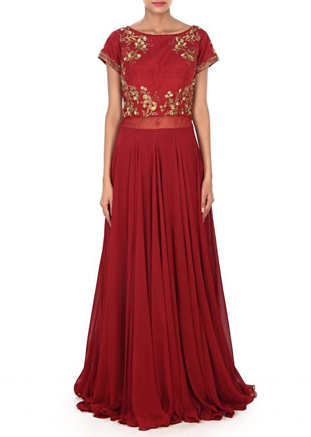 Maroon suit embellished in kardana embroidery only on Kalki