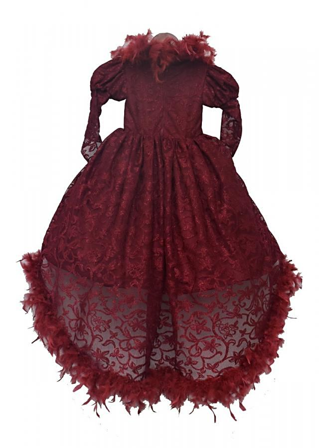 Maroon trail Gown enhanced in feathers and balloon sleeve by Fayon Kids