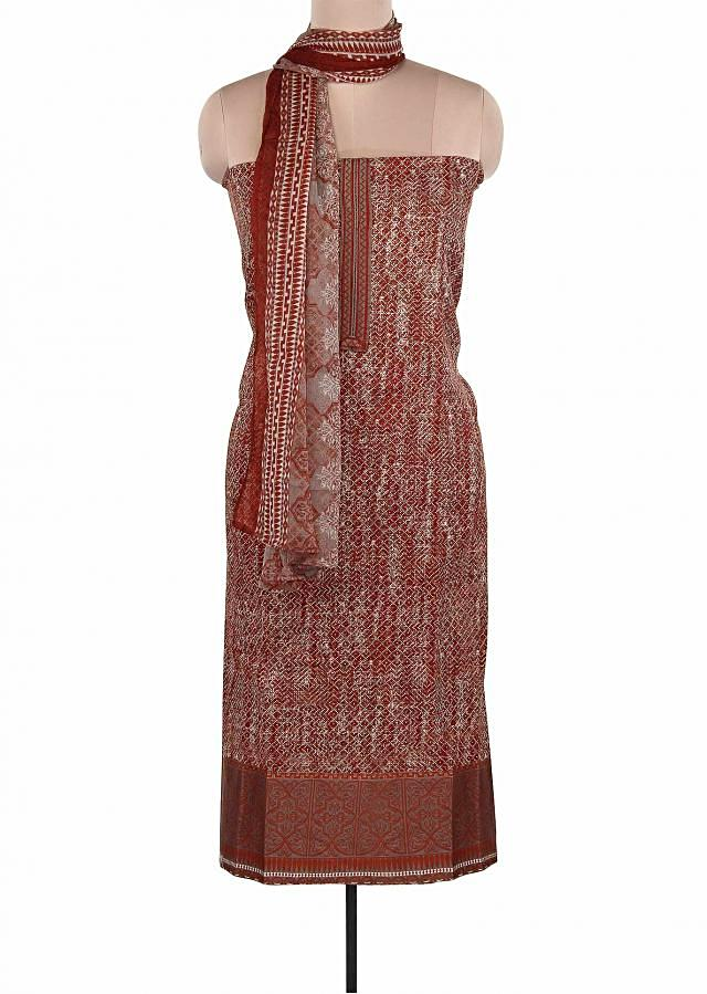 Maroon Unstitched Suit Adorn In Embroidered Placket Only On Kalki