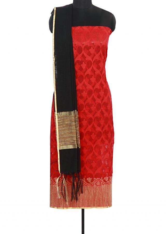Maroon unstitched suit enhanced in weave only on Kalki