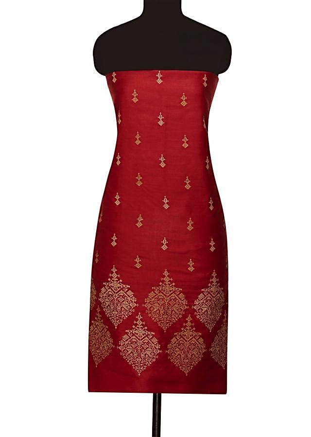 Maroon unstitched suit with beige embroidered dupattaonly on Kalki