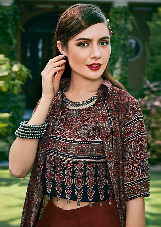 Maroon, Black And Grey Suit With Printed Crop Top And Jacket With Fancy Tassel Online - Kalki Fashion