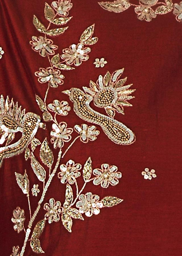 Maroon straight palazzo suit with bird and floral motif embroidery only on Kalki