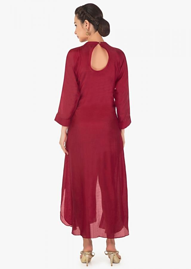 Maroon A line kurti in cotton silk with pin tucks and fancy tassel only on Kalki