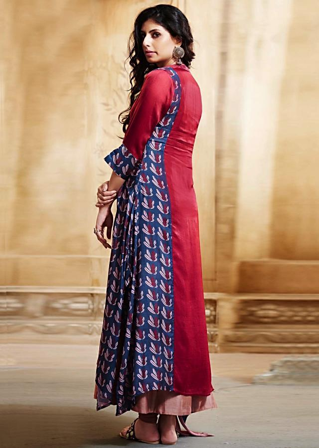Maroon A line suit in cotton silk with printed placket and asymmetric hem line only on Kalki