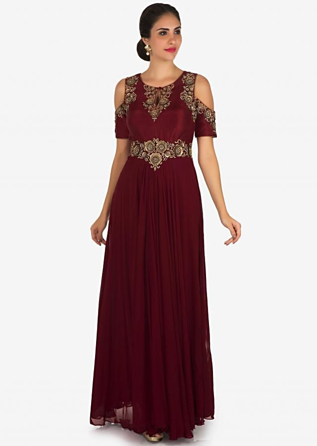 Maroon anarkali gown in georgette crafted in zari and sequin embroidery work only on Kalki