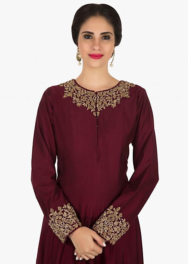 Maroon Anarkali gown in silk crafted in zardosi embroidery only on Kalki