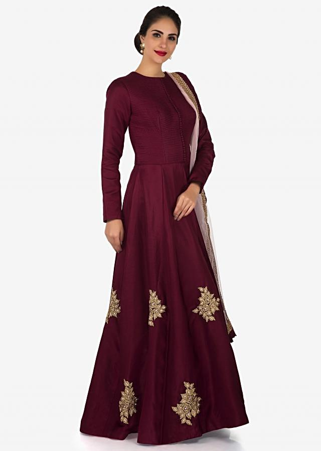 Maroon anarkali suit embroidered in zari and resham butti work only on Kalki