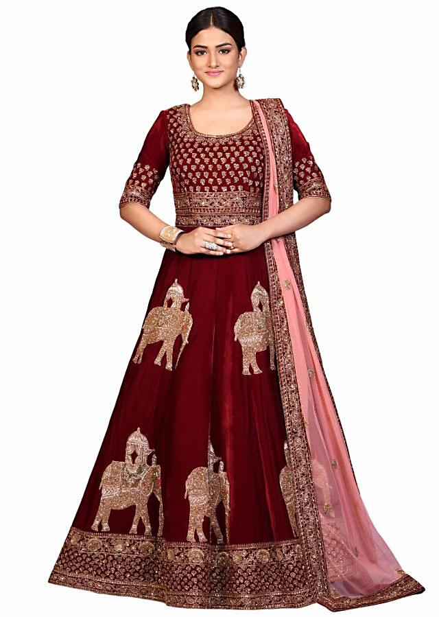 Maroon anarkali suit in velvet with elephant motif embroidery