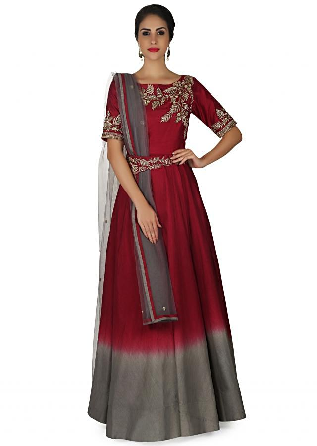 Maroon and grey anarkali suit in raw silk with zardosi embroidery and fancy belt only on Kalki
