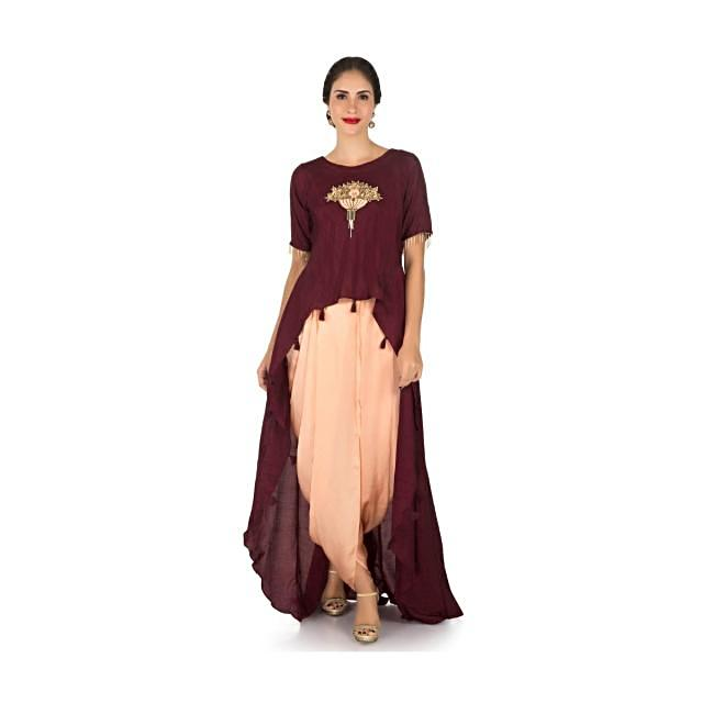 Maroon and peach dhoti suit with a over layer embellished in resham and sequin butti work only on Kalki