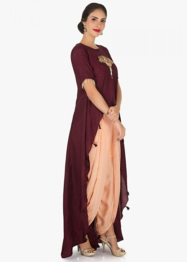 Maroon And Peach Dhoti Suit With The Over Layer Embellished In Resham And Sequin Butti Work Online - Kalki Fashion
