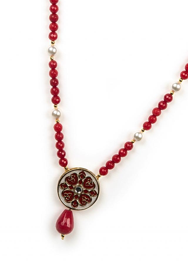 Maroon and white beaded necklace only on Kalki