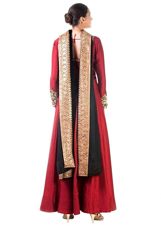Maroon Bem-silk Kali Dress With a Black Velvet Dupatta