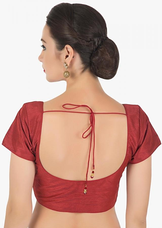 Maroon blouse in raw silk with princes line only on Kalki