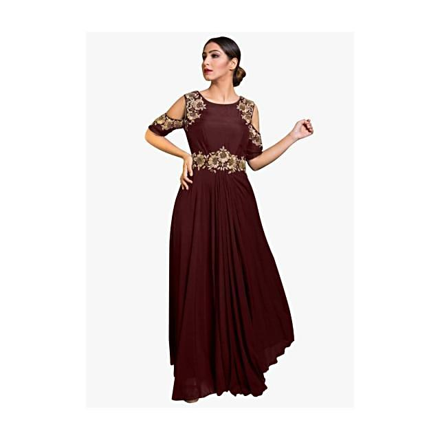 Maroon cold shoulder indo western gown with embroidered armhole and waist line
