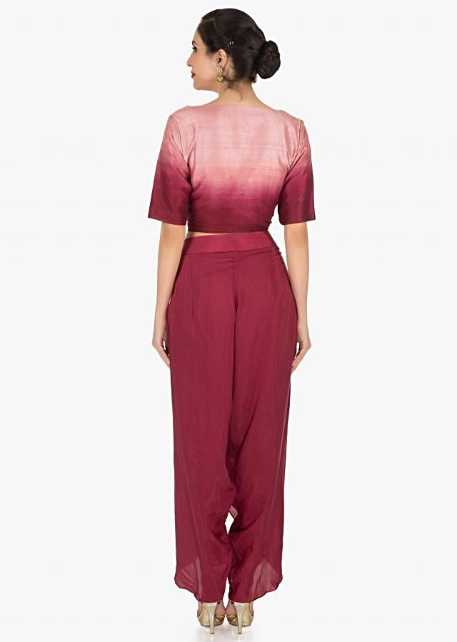 Maroon Dhoti Suit In Raw Silk Embellished With French Knot In Floral Motifs Online - Kalki Fashion