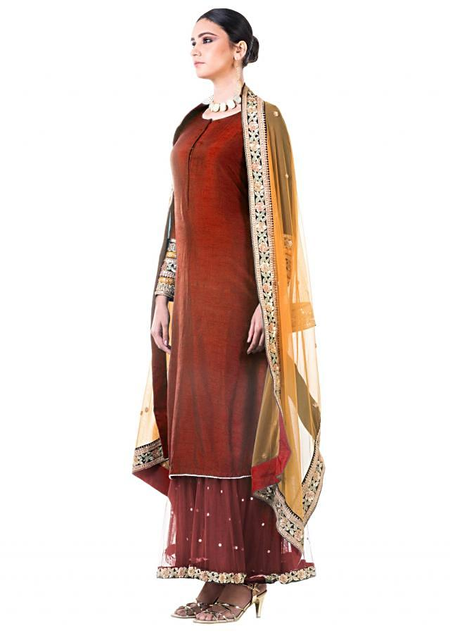 Maroon Double Layer Dress With Beige Dupatta