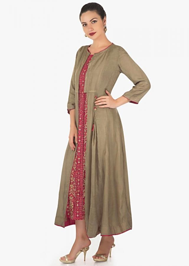 Maroon dress featuring in cotton with resham and zari embroidery along with attach jacket only on Kalki