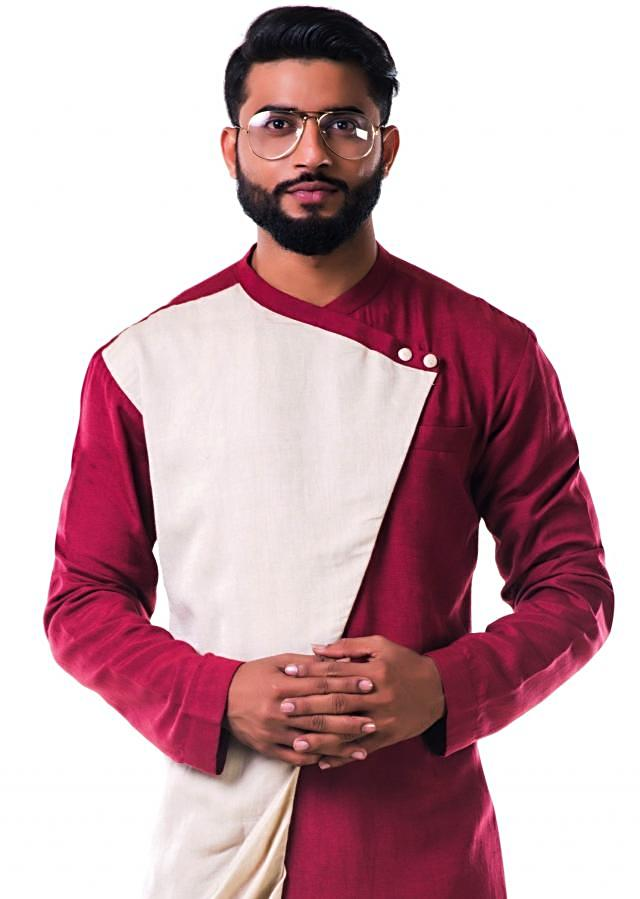 Maroon dual colour overlapped cowl kurta set only on Kalki
