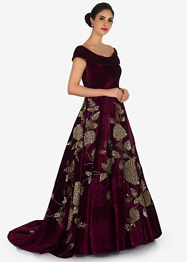 Maroon gown in velvet embellished in heavy sequin and cut dana embroidery work only on Kalki